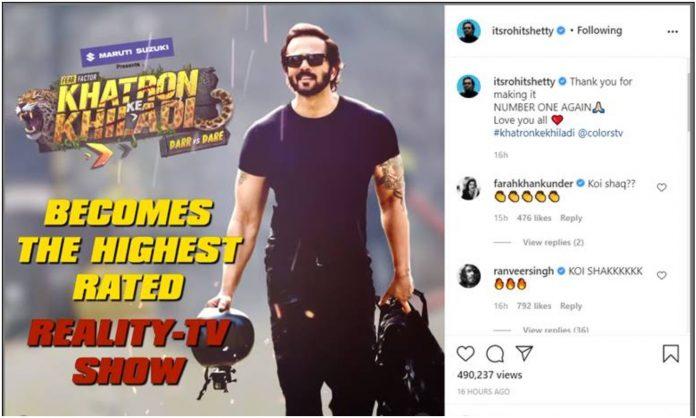Ranveer Singh, Abhishek Bachchan and other Bollywood celebs congratulate Rohit Shetty as COLORS' 'Khatron Ke Khiladi' tops the charts